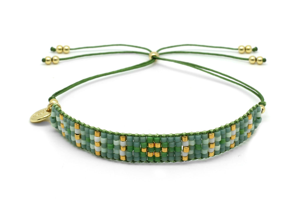 Matira Green Beaded Friendship Bracelet - Boho Betty