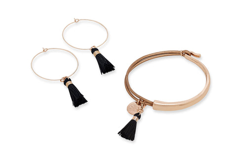 Haine Rose Gold Bracelet & Earring Tassel Gift Set