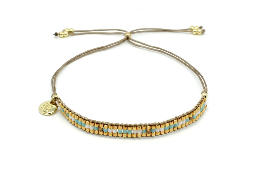 Finesse Aqua Beaded Friendship Bracelet - Boho Betty