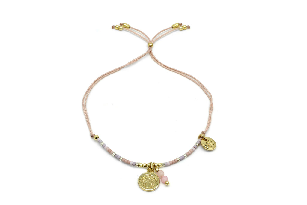 Jaz Beach Pink Bracelet with Charm - Boho Betty