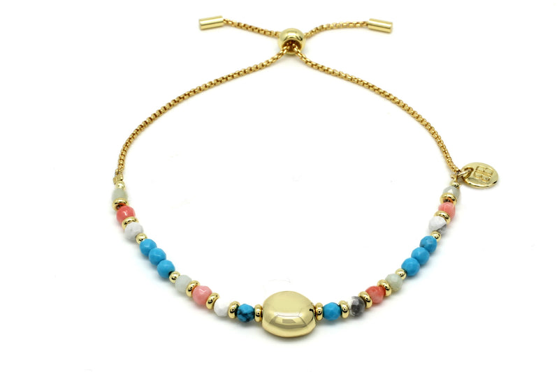 Kribi Multicolour Beaded Pebble Bracelet - Boho Betty