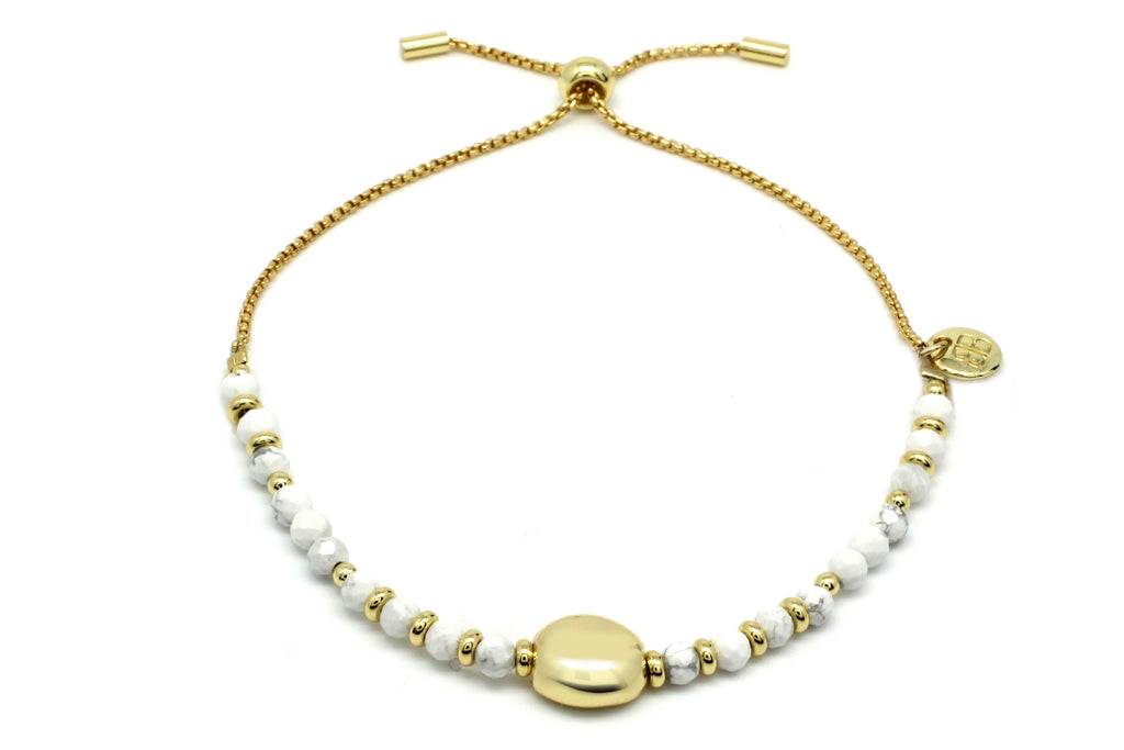 Kribi White & Gold Pebble Bracelet - Boho Betty