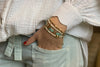 Toulouse 3 White and Gold Layered Bracelet Stack - Boho Betty