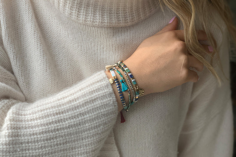 Think Teal Tila Bead Stretch Charm Bracelet - Boho Betty