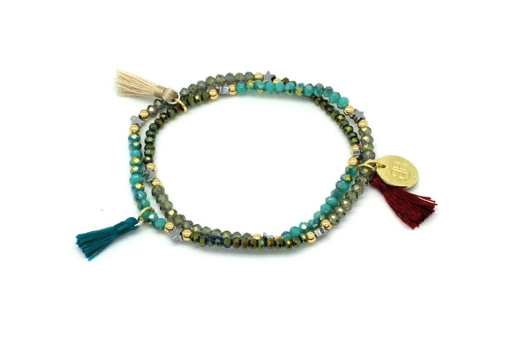 Nerine Tassel Stretchy 2 Wrap Bracelet - Boho Betty