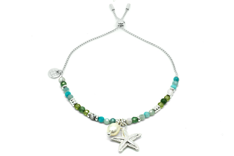 Paradise Bay Silver Starfish Charm Bracelet - Boho Betty