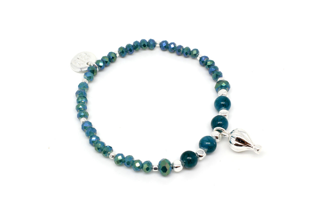 Piccolo Teal Stretch Bracelet - Boho Betty