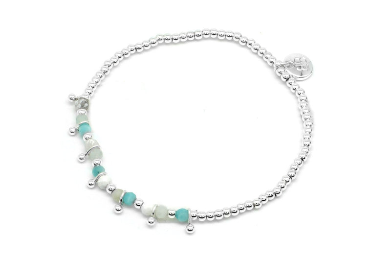 Rio Salada Silver & Aqua Gemstone Bracelet - Boho Betty