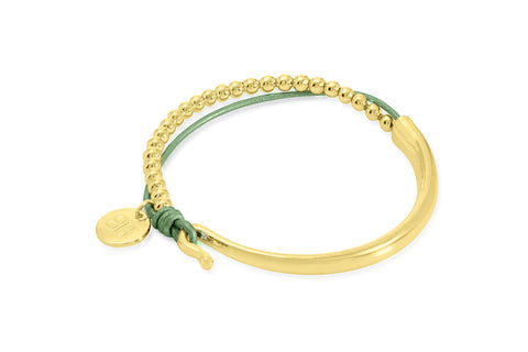 Aisne Olive Green Leather & Gold Balls Bangle