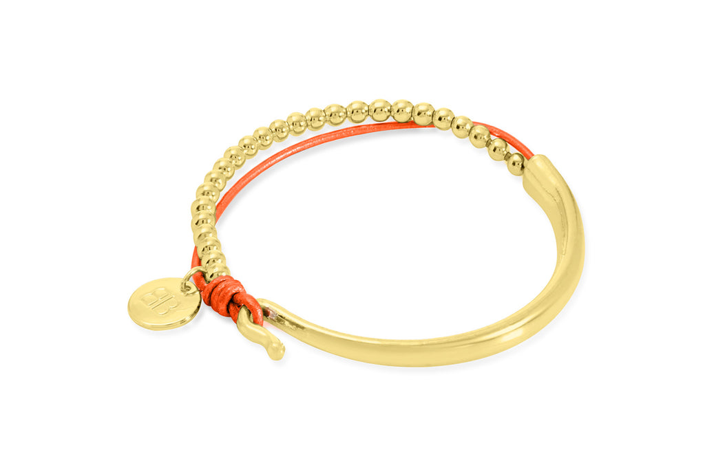 Dives Orange Leather & Gold Balls Bangle