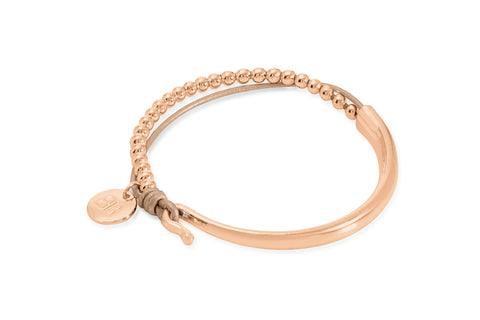 Haine Tan Leather &  Rose Gold Balls Bangle