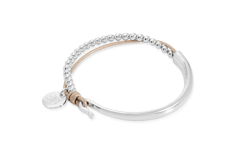 Lauter Taupe Leather &  Silver Balls Bangle