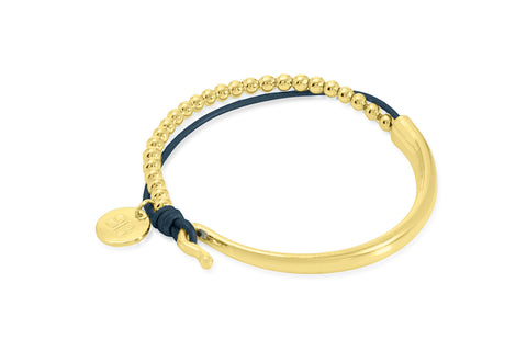 Loire Navy Leather & Gold Balls Bangle