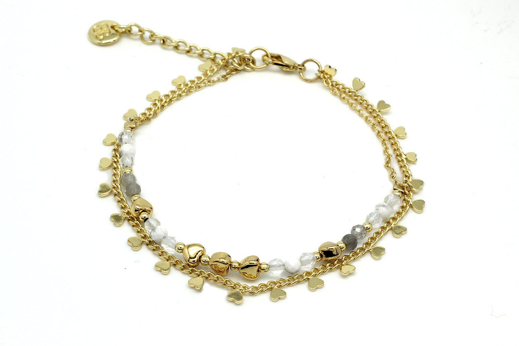 San Blas Gold & White Double Bracelet - Boho Betty