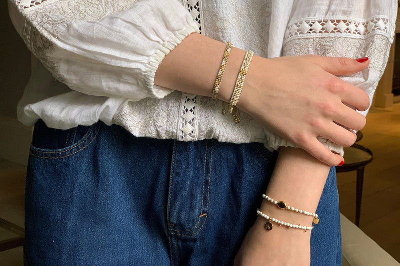 Serasa Gold & White Charm Bracelet - Boho Betty