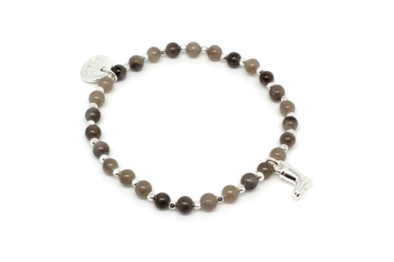 Sitar Grey Labradorite & Agate Gemstone Stretch Bracelet - Boho Betty
