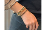 Slide 4 Layered Gold & Black Bracelet Stack with Star Fastener - Boho Betty