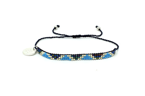 Songman 3 Row Blue Beaded Bracelet