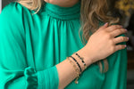 Mirage Black & Gold Tila Bead Charm Friendship Bracelet - Boho Betty