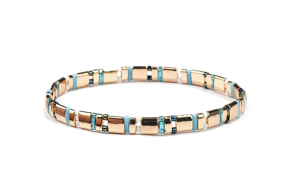 Zoom Blue Tila Beaded Stretch Bracelet - Boho Betty