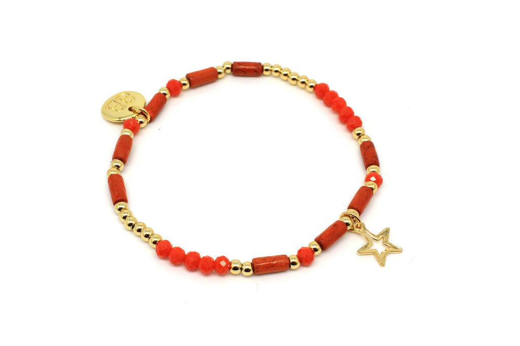 Timple Orange Stretch Bracelet - Boho Betty