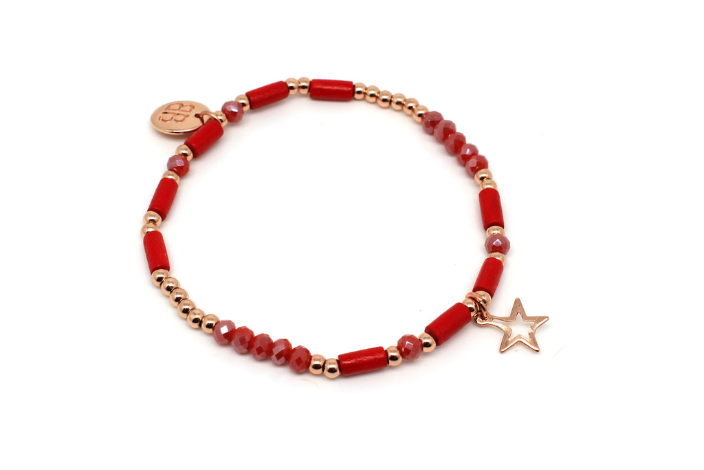 Timple Red Stretch Bracelet - Boho Betty