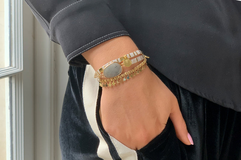 Wonder Pearl Gemstone Tila Bead Bracelet - Boho Betty