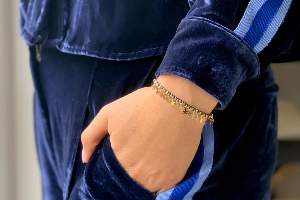 Tombak Multi Star Gold Navy Bracelet - Boho Betty