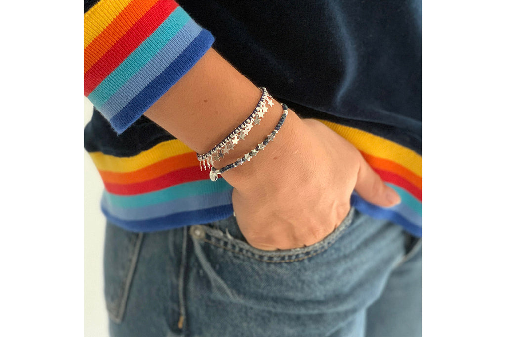 Tombak Multi Star Navy & Silver Bracelet - Boho Betty