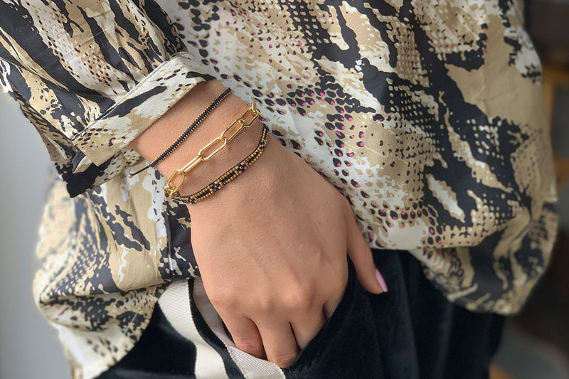 Euphonium Black & Gold Pull Through Woven Bracelet - Boho Betty