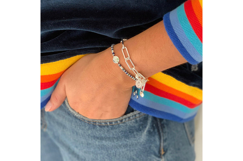 Ukelele Silver Chain Charm Bracelet - Boho Betty