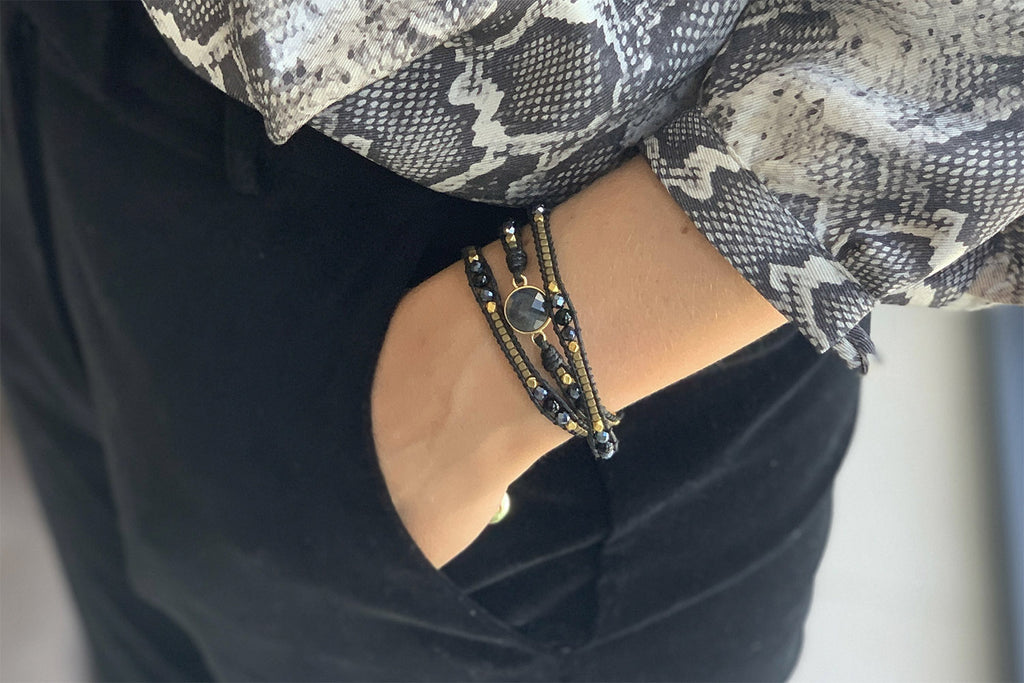 America Black Gemstone Wrap Bracelet - Boho Betty