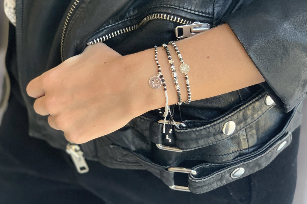 Sax Black Gemstone & Silver Star Charm Bracelet - Boho Betty