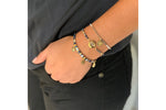 Bazooka Navy & Gold Bead Evil Eye Charm Bracelet - Boho Betty