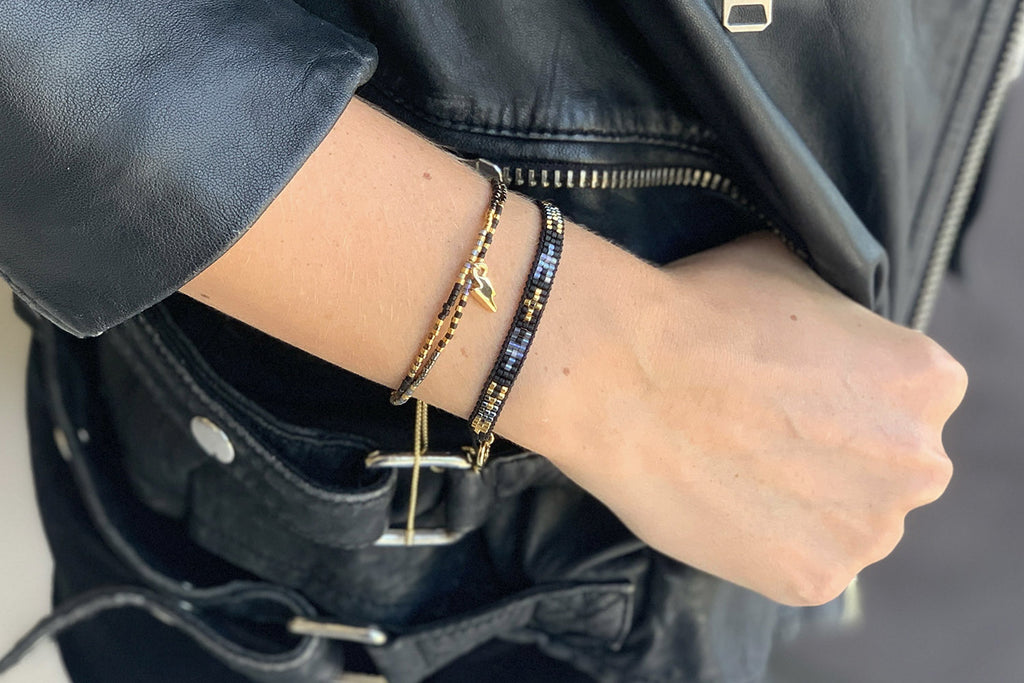 Clarinet Black Gemstone Bracelet with Lightning Bolt Charm - Boho Betty