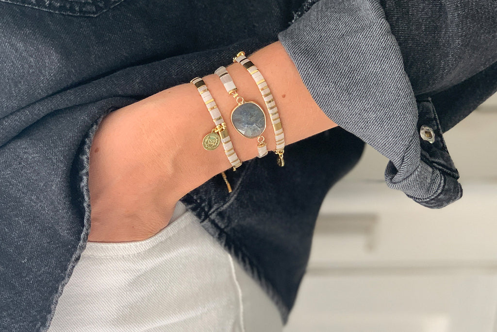 Downtown Pearl Tila Bead Pull Through Bracelet - Boho Betty