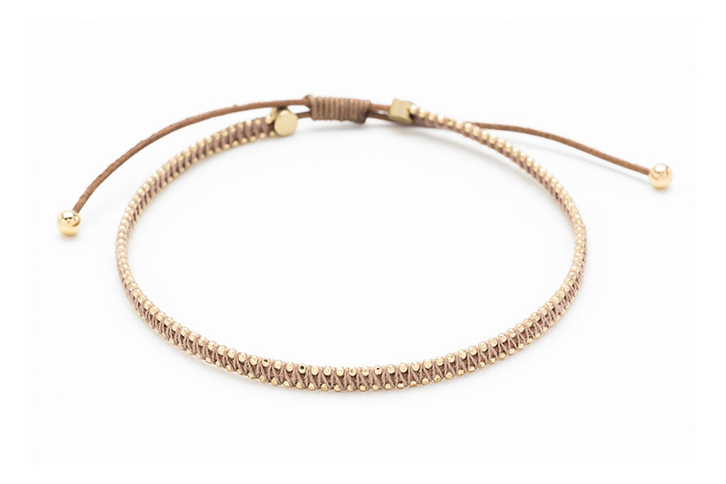 Euphonium Gold & Tan Woven Pull Through Bracelet - Boho Betty