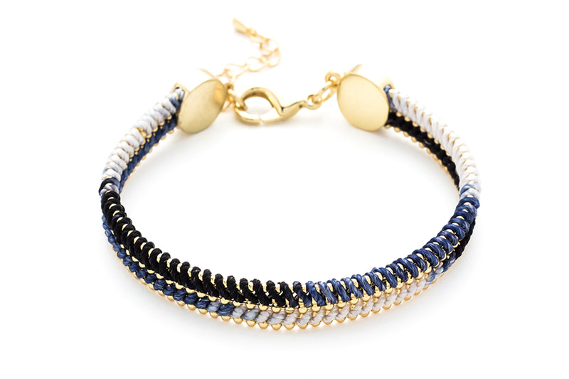 Hulusai Midnight & Gold Woven Bracelet - Boho Betty