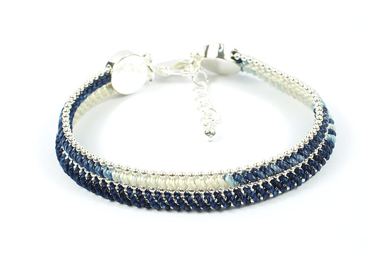 Hulusai Midnight & Silver Woven Bracelet - Boho Betty