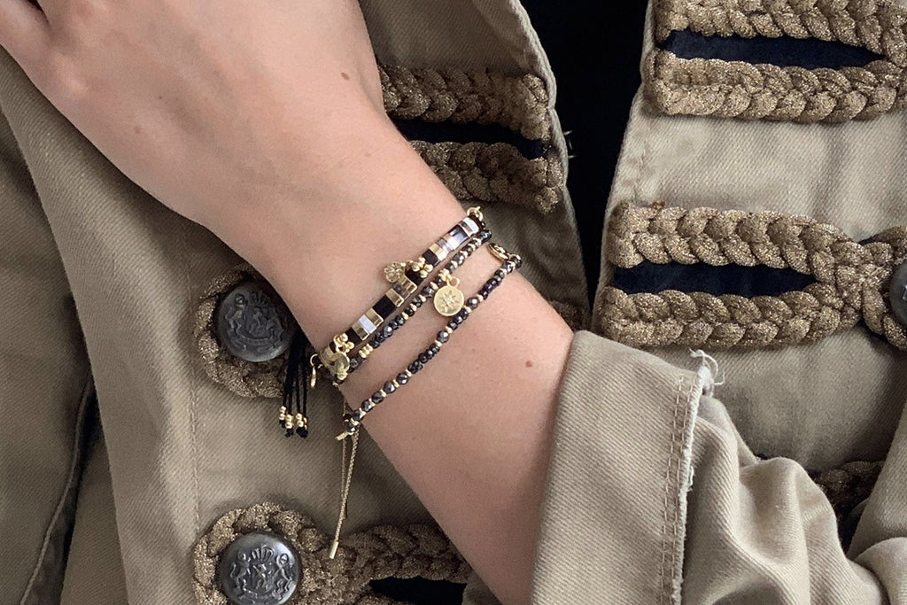 Carimba Black & Gold Gemstone Stretch Bracelet - Boho Betty