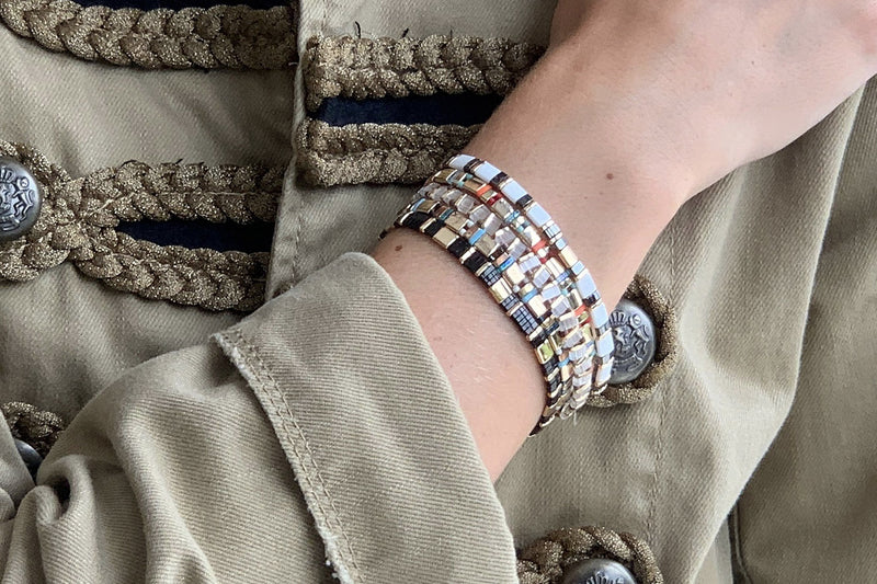 Euphoria Tila Bead Stretch Bracelet - Boho Betty