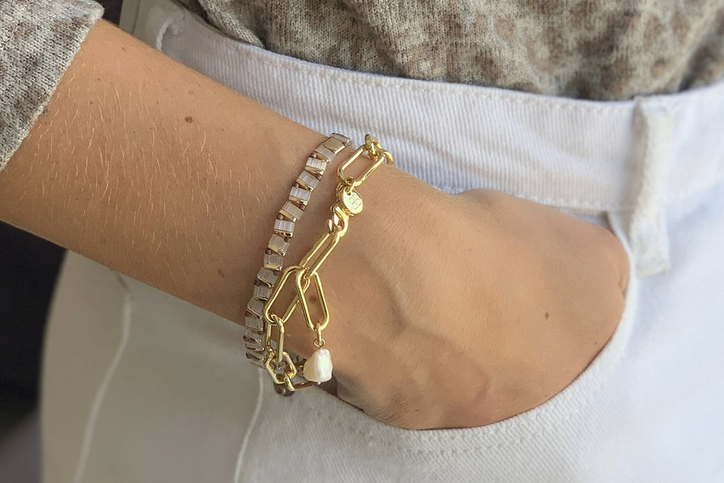 Reunited Tila Beaded Stretch Bracelet - Boho Betty
