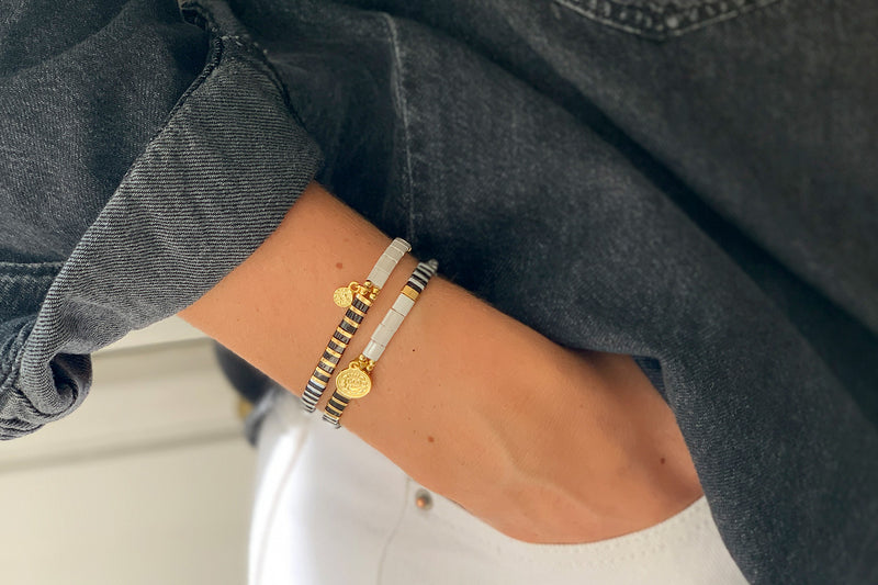 Downtown Black Tila Bead Pull Through Bracelet