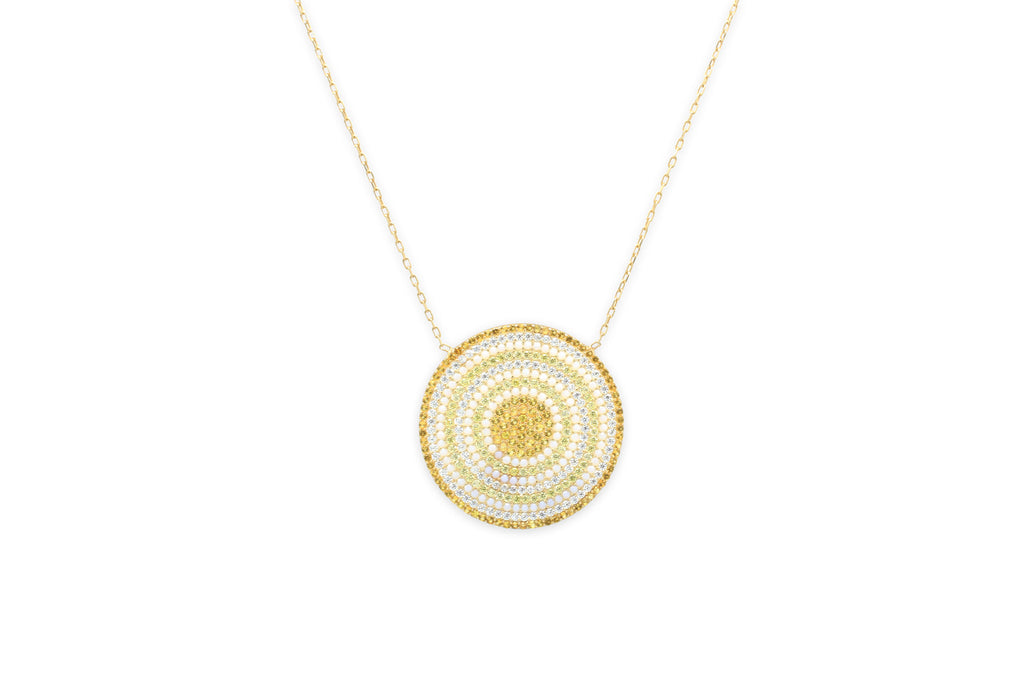 Briottet CZ Gold Disc Beaded Necklace