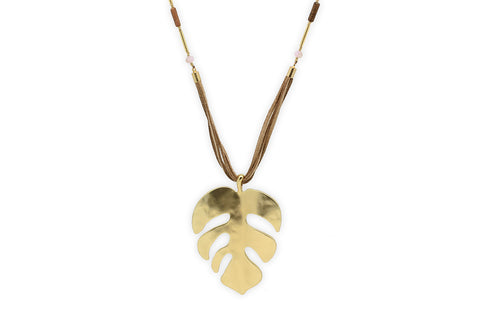Anuket Suede Cheeseplant Leaf Necklace