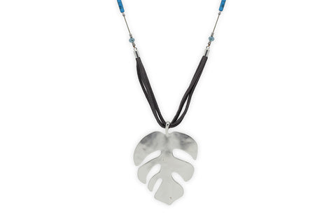 Pakhet Suede Cheeseplant Leaf Necklace