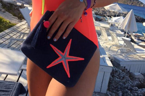 Conta Navy Clutch Bag with Pink Starfish and Pom Poms