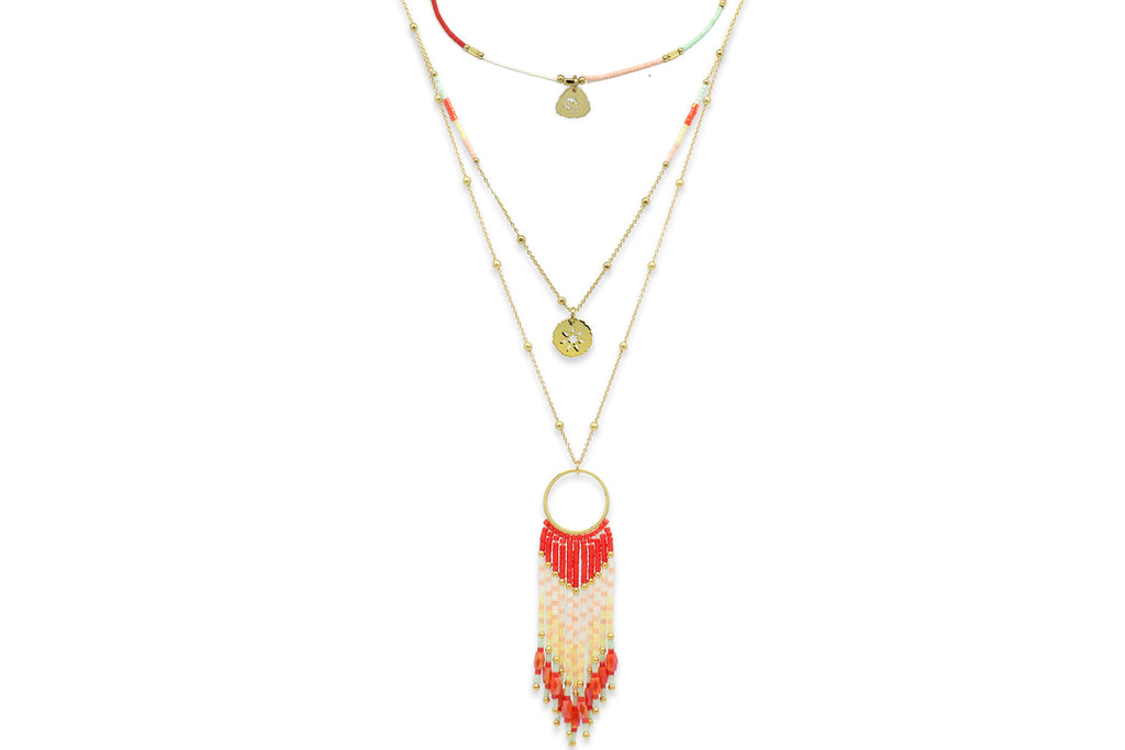 Niat Coral 3 Layering Necklace Set