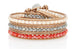 Nairobi Gold Leather 3 Wrap Crystal Bracelet