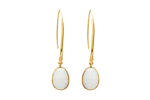 Blunt Gold Drop Earrings with Rainbow Moonstone